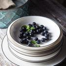 北歐創意黑線陶瓷盤平盤西餐盤子家用餐具意...