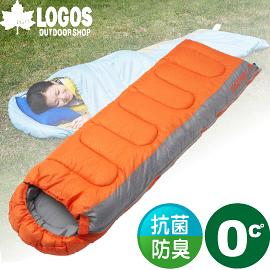 【LOGOS 日本 LOGOS 0度 加大抗菌防臭丸洗睡袋 橙】72600890/化纖睡袋/睡袋/登山/露營睡袋