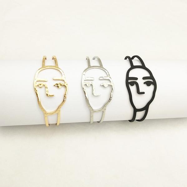 幾何款張 歐美風時尚鏤空搞怪人臉手鐲氣質個性手錬走秀街拍女款 陽光好物