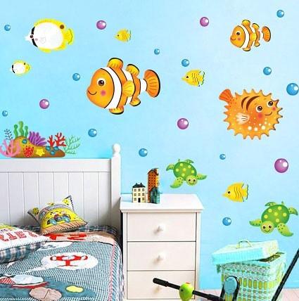 ►壁貼 卡通魚兒浴室裝飾防水透明膜牆貼紙 可移除牆貼紙  無痕壁貼紙【A3086】