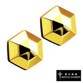 Royal Damon羅亞戴蒙『六角立體星』耳環 (玫瑰金)