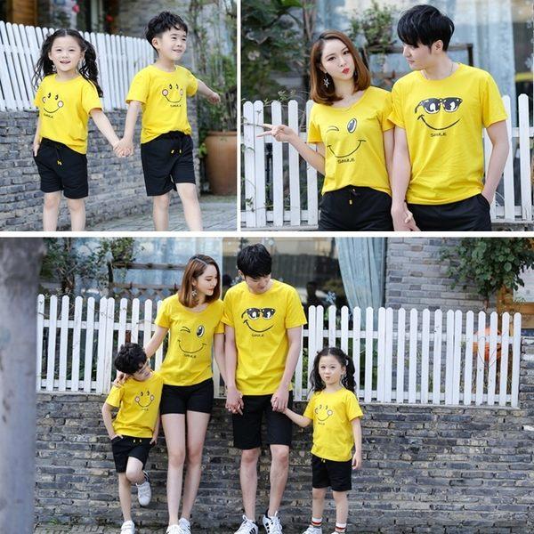 親子裝夏裝短袖t恤一家三口四口春裝全家裝母女裝幼兒園班服潮 快速出貨