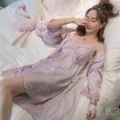 性感睡衣女夏季薄款冰絲綢夏天蕾絲吊帶睡裙激情帶胸墊兩件套 小時光生活館