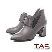 TAS 金屬圓飾蝴蝶結牛皮高跟短靴–冬季灰