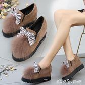 狐貍毛鬆糕厚底單鞋女鞋子平底內增高冬季毛毛鞋女鞋  潔思米