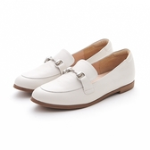 MICHELLE PARK 春夏新時尚英倫復古風真皮金屬馬銜釦平底鞋-白色