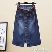 半身裙高腰修身中長款牛仔裙春季新款復古一排扣開叉包臀A字裙子 快速出貨