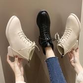 靴子短靴女平底短筒英倫風馬丁靴系帶秋季新款chic女靴子裸靴