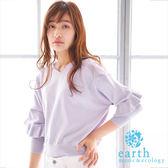 ❖ Spring ❖ 荷葉袖設計V領短版針織上衣 - earth music&ecology