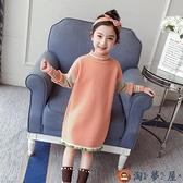 女童毛衣連身裙兒童針織衫中長款毛衣裙秋冬季裝【淘夢屋】