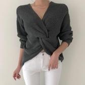 針織毛衣 交叉褶皺設計性感露肩針織毛衣