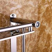 浴室置物架打孔放毛巾的架子衛生間吸盤式雙層毛巾架洗手間掛件   夢曼森居家