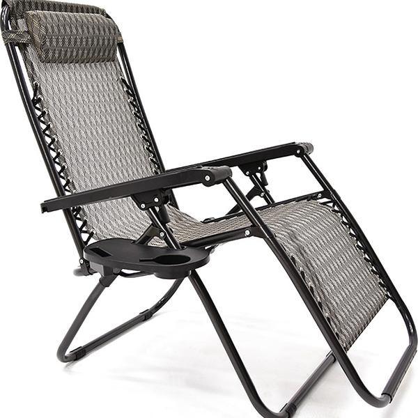 煞車軌道!!無段式躺椅(贈杯架)無重力躺椅斜躺椅折疊椅涼椅休閒椅透氣網椅子靠枕傢俱傢具特賣會