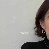 耳環 縷空愛心銀針耳環Mon-0259-創翊韓都
