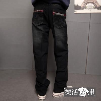 假拉鍊造型袋伸縮中直筒牛仔褲@樂活衣庫【6749】