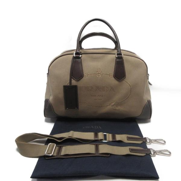 PRADA 普拉達 棕色皮革經典LOGO帆布波士頓旅行袋 【二手名牌 BRAND OFF】