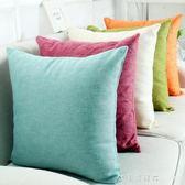 純色加厚棉麻正長方形歐式沙發床頭靠墊抱枕套汽車辦公椅護腰靠枕 NMS漾美眉韓衣