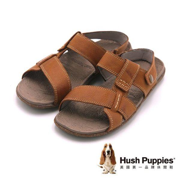 Hush Puppies 涼夏必備露齒素面涼鞋 男鞋-棕(另有藍)