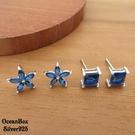 §海洋盒子§優雅美麗。質感小藍花.藍方塊鋯石針式925純銀耳環(925純銀+外鍍正白k)