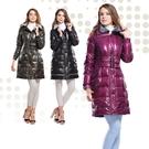 【SAMLIX 山力士】女 新時尚類皮革羽絨大衣(#31811墨綠.紫紅.黑色)