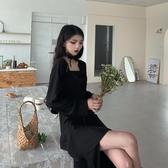 長袖洋裝 裙子女連衣裙2020年新款黑色中長款收腰顯瘦長袖氣質【快速出貨】