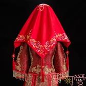 中式龍鳳刺繡紅蓋頭紗新娘秀禾服蓋頭紗紅色流蘇【聚可愛】