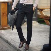 秋季男士西褲修身商務上班直筒西裝褲黑色休閒正裝免燙西服褲子男