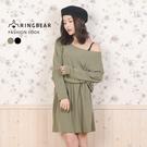 休閒洋裝--知性性感風素色側邊口袋連袖寬領連身收腰裙(黑.綠XL-5L)-A189眼圈熊中大尺碼