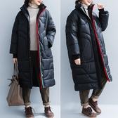 黑色加厚高領棉衣 新款文藝加肥慵懶風中長款長袖棉服加厚保暖
