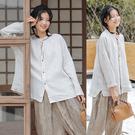 純手工刺繡亞麻襯衫設計感寬鬆上衣/設計家 S200102