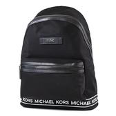 美國正品 MICHAEL KORS 男款 銀字高密度尼龍織布飾邊輕量拉鍊後背包-黑色/大 【現貨】