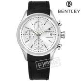 BENTLEY 賓利 / BL1684-20001 / 藍寶石水晶玻璃 三眼計時 日期 日本機芯 德國製造 真皮手錶 銀x黑 43mm
