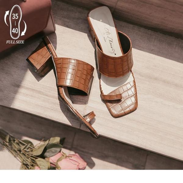 《SD0282》台灣製造.復古鱷魚紋粗帶夾角涼拖高跟鞋 OrangeBear