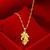 【獨愛精品】日韓時尚18年新品鍍金仿金女士款項鍊(鎖骨雙花) 飾品 手鍊 腳鍊 練繩