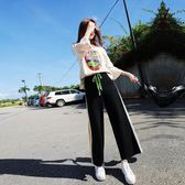 寬褲 運動套裝女夏2019新款韓版時尚學生寬鬆顯瘦T恤闊腿褲休閒兩件套