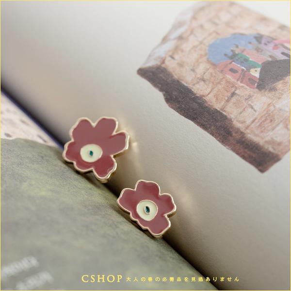 耳環 不對稱罌粟花耳環(925銀針) 單色-小C館日系