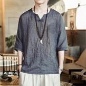 冰絲短袖T恤男中國風男裝亞麻寬松上衣棉麻刺繡漢服【左岸男裝】