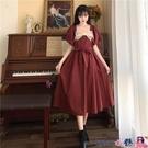 熱賣大碼洋裝 夏季2021大碼新款胖MM復古法式桔梗裙蝴蝶結收腰顯瘦短袖連身裙女 coco