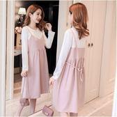 初心 假兩件 洋裝 【D3357】韓系 假二件 長袖 背心裙 連衣裙 背心洋裝