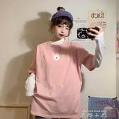 夏季韓版2020新款寬鬆中長款原宿風洋氣小雛菊印花短袖T恤上衣女 米娜小鋪