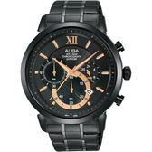 台灣獨賣 情人限量400只 ALBA雅柏 Prestige 計時手錶-黑/44mm VD53-X295SD(AT3D23X1)