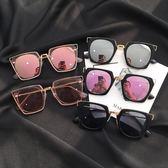 聖誕好物85折 墨鏡女潮眼鏡新款圓形彩色太陽鏡女圓臉韓國復古眼鏡