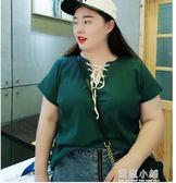 加大碼女裝2018時尚夏季新款胖mm顯瘦細針織繫帶V領純色短袖上衣 藍嵐