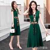 短袖洋裝 綠色雪紡連身裙女裝2021年夏季新款氣質修身遮肚顯瘦收腰夏天裙子 16【618特惠】