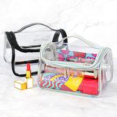 果凍包 化妝包 防水包 收納包 手拿包 透明袋 洗漱包 大容量 果凍透明化妝包(手提)【B060】慢思行