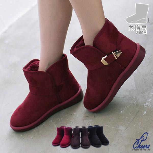 雪靴。Cheers*時尚金釦縫線內裡鋪毛短筒雪靴 現貨【RP8619】