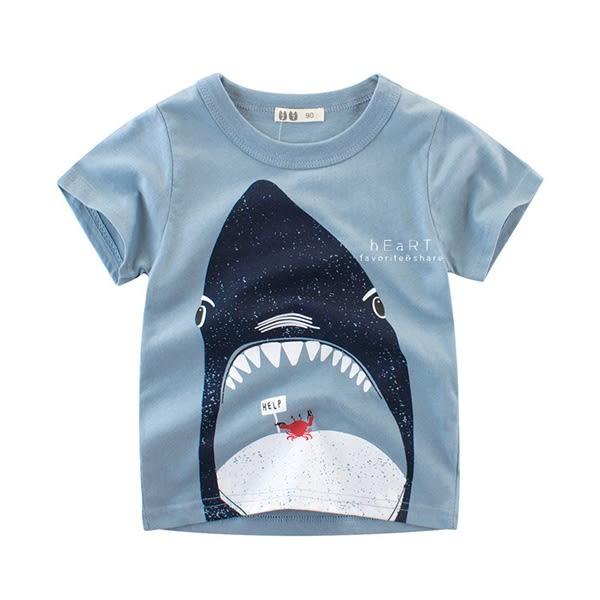 鯊魚吃螃蟹印花短袖T恤
