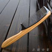 密齒牛角梳子天然綠檀木梳按摩梳子