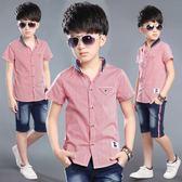男童白襯衫短袖夏季新款兒童襯衣大童 LQ4991『小美日記』
