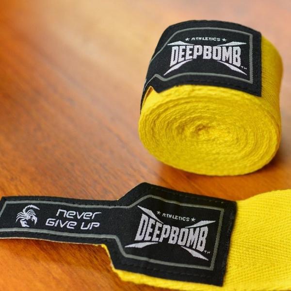『VENUM旗艦館』DEEPBOMB 原裝BOXING專業拳擊手綁帶 2.5米  打沙包 純棉吸汗 無彈性 黃色